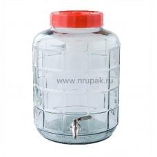 Стеклянная бутыль GK-70 с краном, 25 литров