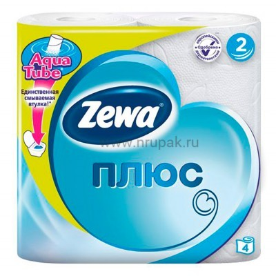 "Туалетная бумага ""Zewa плюс"" 2х-слойная, 4 шт/ упак"