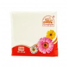 """Салфетки бумажные """"Семья и комфорт"""" белые, 24х24 см,100 листов/ упак, 45 упак/ кор."""