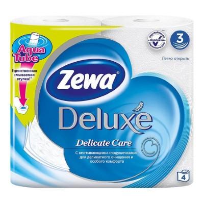 """Туалетная бумага """"Zewa Deluxe"""" 3х-слойная, 4 шт/ упак"""