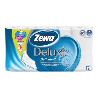 """Туалетная бумага """"Zewa Deluxe"""" 3х-слойная, 8 шт/ упак"""