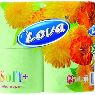 """Туалетная бумага """" Lova """"  2х-слойная, 4 шт/ упак"""