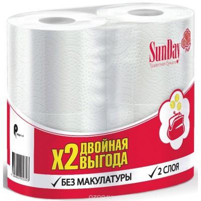 """Туалетная бумага """"Sun Day"""" 2х-слойная, 4 шт/ упак"""