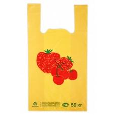 Пакет майка Клубника 30*55, 10 упак/ мешок