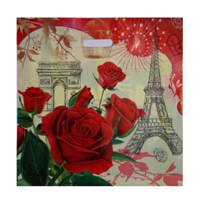 Пакет с вырубной ручкой Розы Парижа 45*45 , 300 шт/ меш