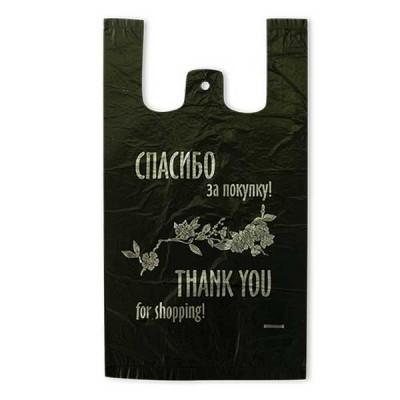 Пакет майка Спасибо за покупку черный 24*44