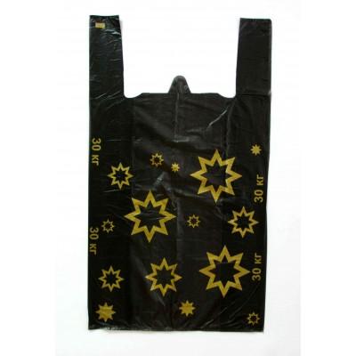 Пакет майка Звезда черный 30*55, 20 упак/ мешок